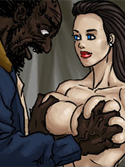 The wife quockly removed her pants, wet and horny - A Favor for the Homeless by Illustrated interracial